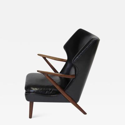 Kurt Olsen Kurt Olsen Danish Rosewood Black Leather Bear Chair