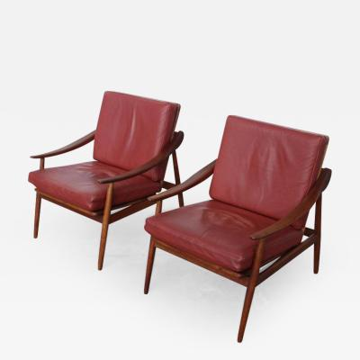 Kurt Ostervig Rare Pair of Kurt Ostervig for Jason M bler Leather and Teak Lounge Chairs