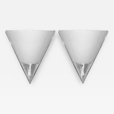 Kurt Versen Kurt Versen Pair of Minimalist Streamline Sconces Bent White Glass Aluminum
