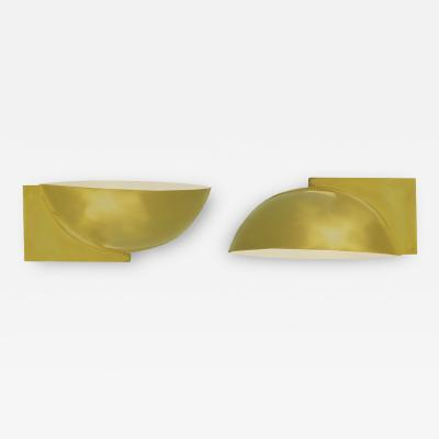 Kurt Versen Pair of Minimalist Brass Wall Sconces by Kurt Versen
