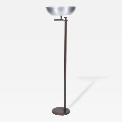Kurt Versen Spun Aluminium and Patinated Brass Flip Top Floor Lamp USA 1940s