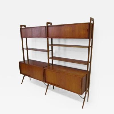 Kurt stervig Kurt Ostervig Danish Modern Two Section Teak Room Divider Wall System by Kurt Ostervig