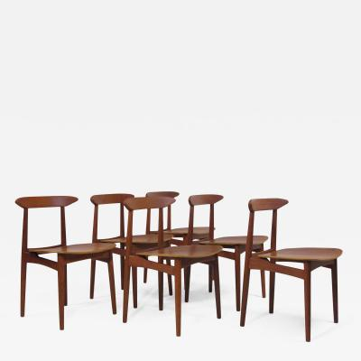 Kurt stervig Kurt Ostervig Danish Teak Dining Chairs with Wooden Seats