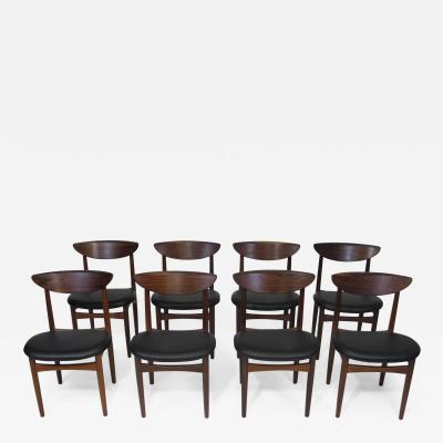 Kurt stervig Kurt Ostervig Eight 8 Kurt Ostervig Mid century Rosewood Dining Chairs in Black Leather