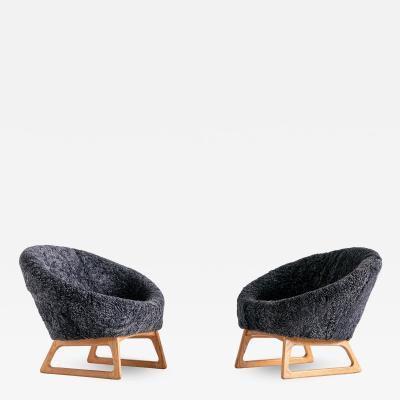 Kurt stervig Kurt Ostervig Pair of Kurt stervig Sheepskin Lounge Chairs Rolschau M bler Denmark 1958