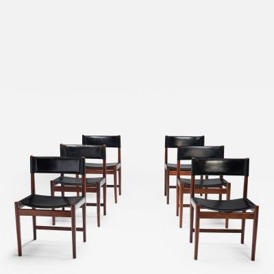 Kurt stervig Six Kurt stervig Dinner Chairs in Dark Wood and Leather Denmark 1960s