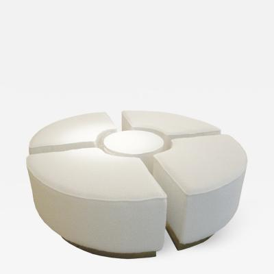 L A Studio Contemporary Koala White Wool Boucl Italian Ottoman Designed by L A Studio