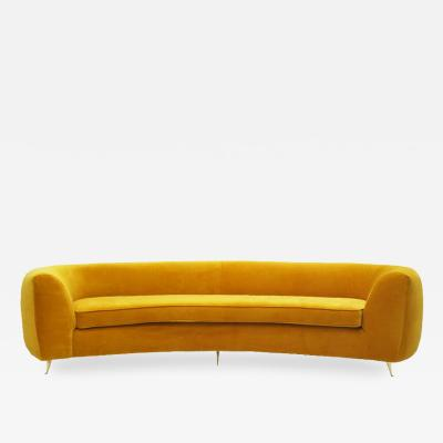L A Studio Contemporary Yellow Cotton Velvet Curved Italian Sofa