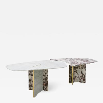L A Studio L A Studio Contemporary Modern Marble and Brass Italian Dining Table