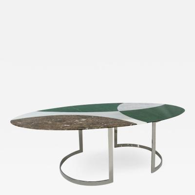 L A Studio L A Studio Contemporary Modern Marble and Steel Italian Dining Table