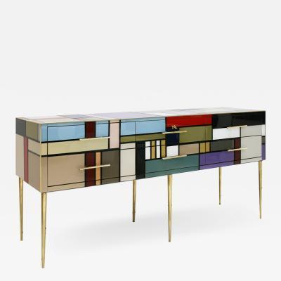 L A Studio L A Studio Six Drawers Murano Colored Glass Brass Italian Sideboard