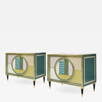 L A Studio Mid Century Modern Brass and Colored Glass Pair of Italian Sideboards