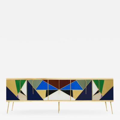 L A Studio Mid Century Modern Solid Wood and Colored Glass Italian Sideboard