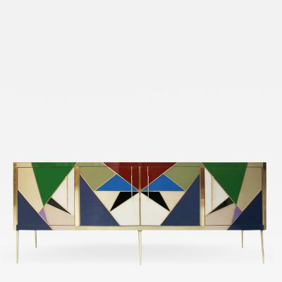 L A Studio Mid Century Modern Style Italian Sideboard Made of Wood Brass and Colored Glass