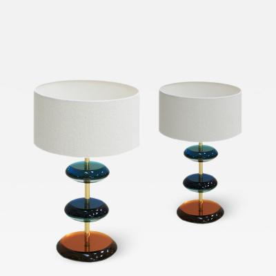 L A Studio Mid Century Modern Style Murano Glass and Brass Pair of Italian Table Lamps