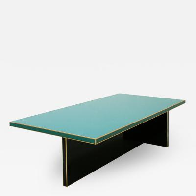 L A Studio Rectangular Black and Blue Crystal and Brass Coffee Table