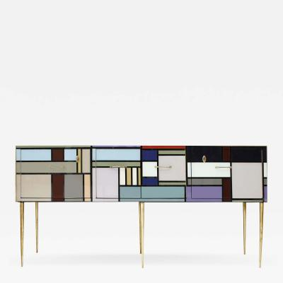 L A Studio Sideboard with Four Doors Made in Colored Glass Italy
