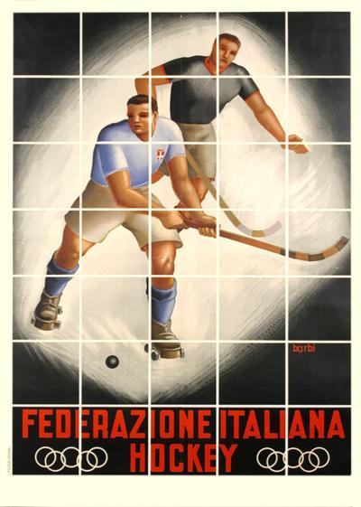 L Barbi Vintage Italian Hockey Federation Poster by Barbi c 1940s