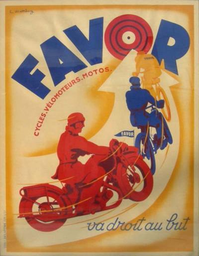 L Matthey Art Deco Favor Motorcycle Poster by L Matthey