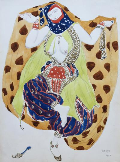 L on Bakst Watercolor of a Semi Nude Dancer for Scheherazade ballet by Bakst France 1910