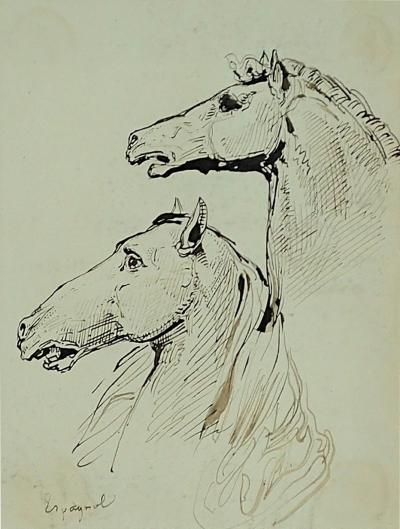 L on Cogniet Beautiful Ink Study of Spanish Horses By L on Cogniet