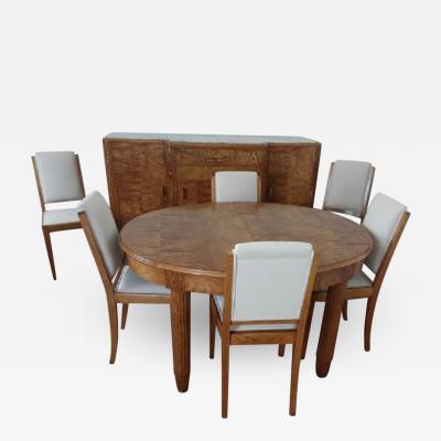 L on Jallot French art deco dining suite in satinwood and burr elm by Leon Jallot