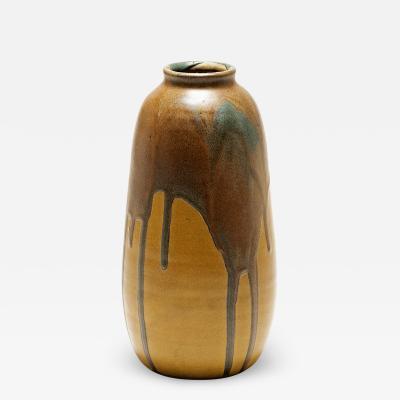 L on Pointu Art Deco Polychrome Glazed Ceramic Vase by Leon Pointu
