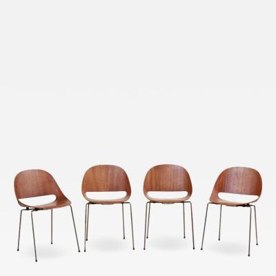 L on Stynen Set of four SL58 Plywood Chairs in Teak by L on Stynen for Sope Finland 1960s