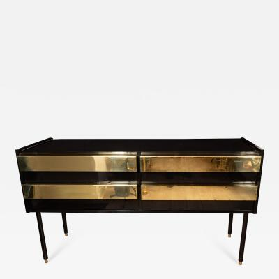 LACQUERED WOOD SIDEBOARD WITH BRASS FRONT PULLS
