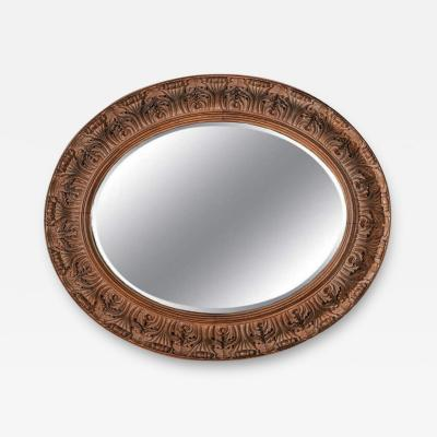 LARGE 19TH CENTURY SWEDISH OVAL CARVED OAK MIRROR BY A LUNDMARK