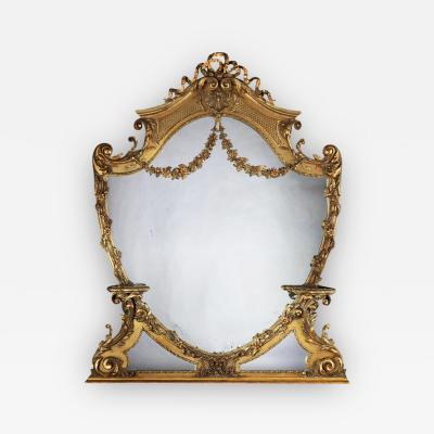 LARGE 19TH CENTURY VICTORIAN GILTWOOD AND GESSO OVERMANTEL MIRROR