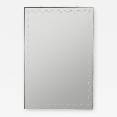 LARGE BRASS FRAMED MIRROR WITH SCROLLING BORDER