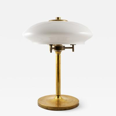 LARGE BRASS TABLE LAMP WITH OPAL GLASS SHADE