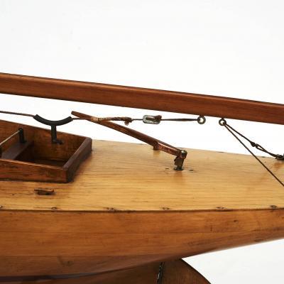LARGE DANISH MAPLE AND MAHOGANY POND YACHT SHIP MODEL