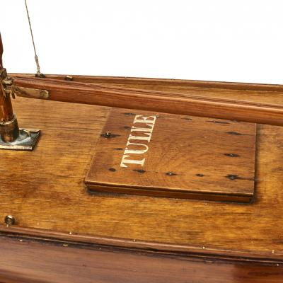LARGE HAND BUILT MODEL OF WOODEN POND YACHT