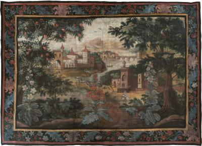 LARGE LATE 18TH EARLY 19TH CENTURY FRENCH TOILE PEINTE PAINTED CANVAS