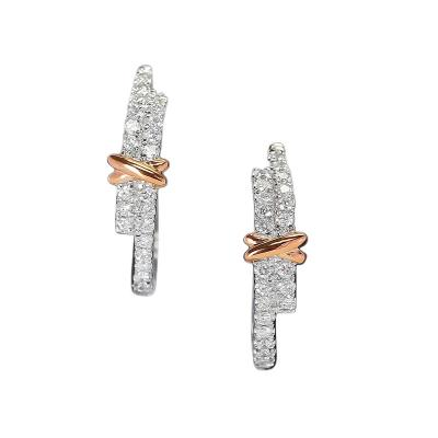 LARGE WHITE DIAMOND HOOP EARRINGS WITH A ROSE GOLD BOW 14K GOLD
