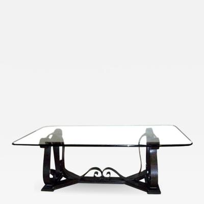 LARGE WROUGHT IRON TABLE WITH GLASS TOP