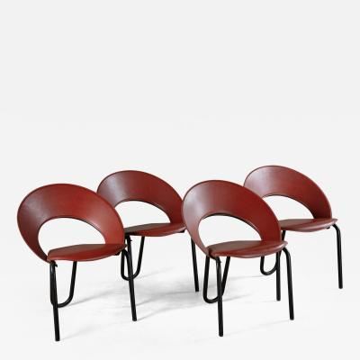 LEATHER AND ENAMELED STEEL SIDE CHAIRS