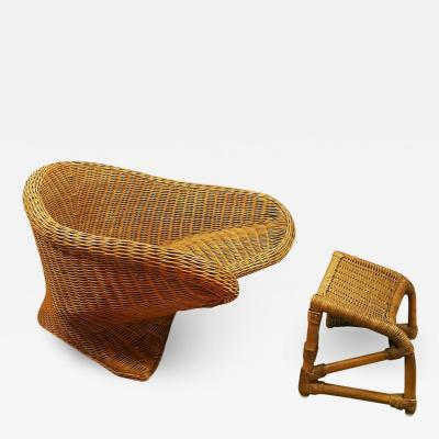LOW WICKER ARMCHAIR ITALY 1970