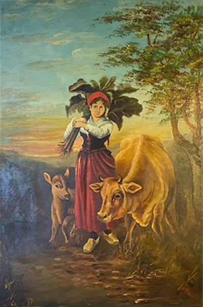 LUMINOUS 1900S FARM WOMAN WITH COWS OIL PAINTING