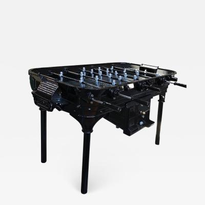 La Cancha Industria Argentina Vintage 1930 Black Foosball Table Signed La Cancha Argentina
