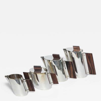 La Maison Desny Art Deco La Maison DESNY Nickel Plated and Rosewood Four Piece Tea Set