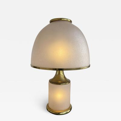 La Murrina Large Brass Mushroom Murano Glass Lamp Italy 1970s