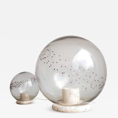 La Murrina Table lamps in travertine and blown glass