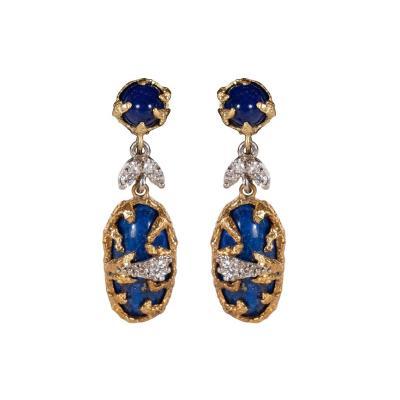 La Triomphe Lapis Brilliant Cut Diamonds 18kt Gold Platinum Earrings by La Triomphe