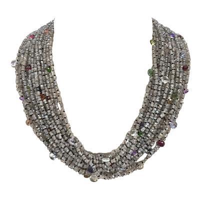 Labradorite and Multistone Multi Strand Pearl Neacklaces with Bakelite Clasp