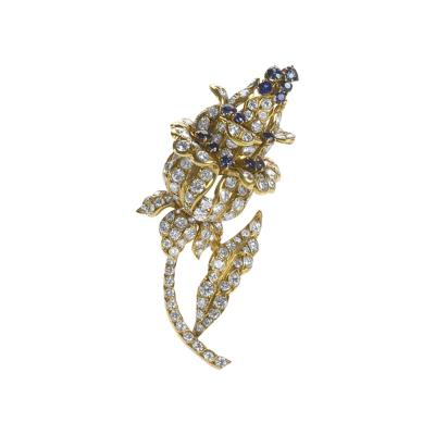 Lacloche Fr res LaCloche Paris Diamond Sapphire and Gold Flower Brooch