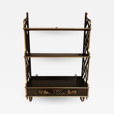 Lacquered Chippendale Style Wall Shelf