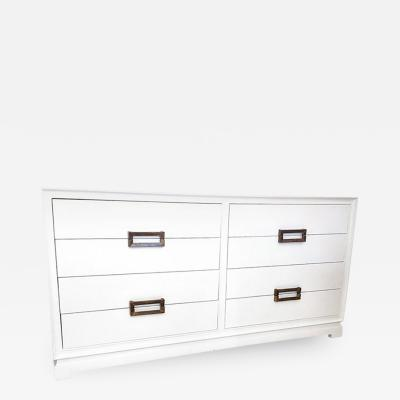 Lacquered Eight Drawer Double Dresser with Brass Pulls